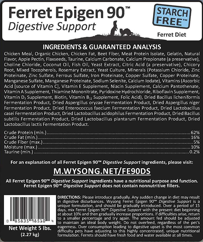 Wysong Epigen 90 Digestive Support Ferret Diet Ingredients List