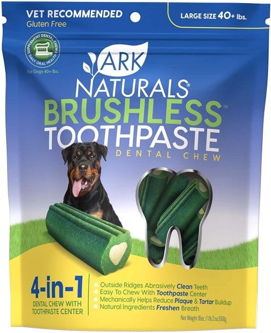Ark Naturals Brushless Toothpaste Grain-Free Large Dental Dog Treats